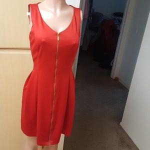Dress Moder Red Sleeveless Front Zip Midi Dress